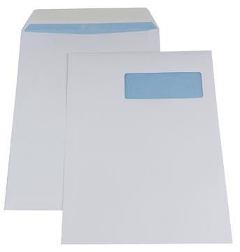 Gallery enveloppen ft 230 x 310 mm, venster rechts, stripsluiting, binnenzijde blauw, doos van 250 stuks