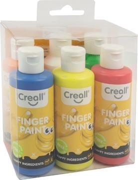Creall vingerverf Happy, set met 6 flesjes van 80 ml in geassorteerde kleuren