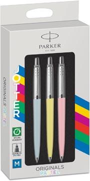 Parker Jotter Originals Pastel balpen, blister met 3 stuks, roze/blauw/geel