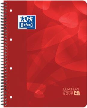 Oxford School Projectbook spiraalschrift, ft A4+, 4-gaats perforatie, geruit 5 mm, rood