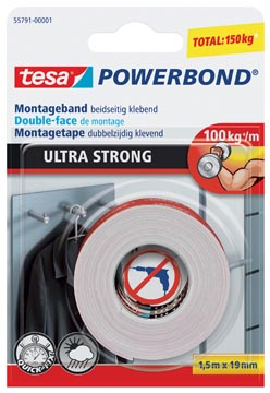Tesa Powerbond Ultra Strong, ft 19 mm x 1,5 m, op blister