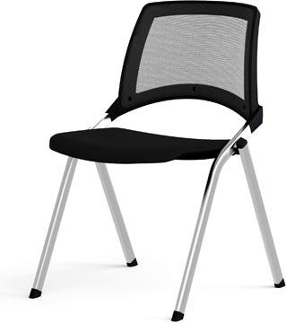 EOL bezoekersstoel Emi, mesh rug, zwart