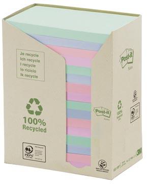 Post-it Notes gerecycleerd, ft 76 x 127 mm, geassorteerde kleuren, 100 vel, pak van 16 blokken