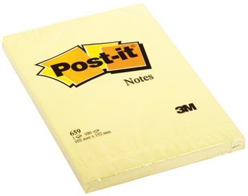 Post-it Notes, ft 102 x 152 mm, geel, blok van 100 vel