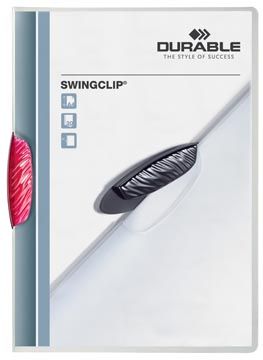Durable klemmap Swingclip transparant rood
