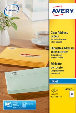 Avery J8560-25 adresetiketten ft 63,5 x 38,1 mm (b x h), 525 etiketten, transparant