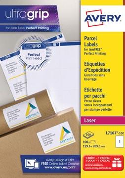 Avery L7167, Verzendetiketten, Laser, Ultragrip, wit, 100 vellen, 1 per vel, 199,6 x 289,1 mm